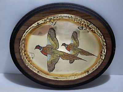 """Vintage Wood And Brass PHEASANT Wall Plaque FACING LEFT 10.75"""""""