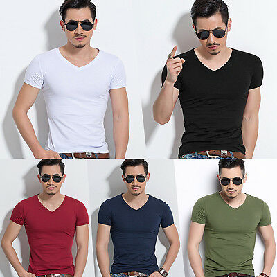 Fashion Men's V Neck T-shirt Slim Fit Short Sleeve Solid Color Casual Tops Tee