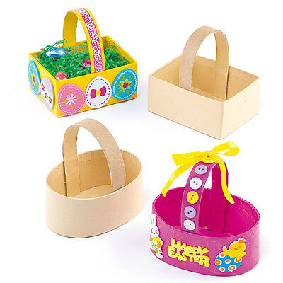 Easter Craft Baskets for Kids to Paint & Decorate for Treats (Pack of 6)
