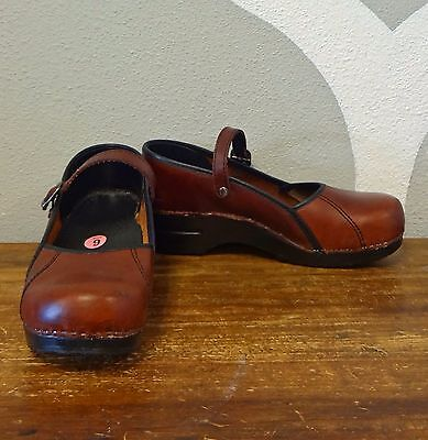 DANSKO Brown Leather Mary Jane Occupational Comfort Clogs - 40