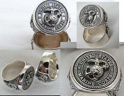 Ring +++Us Marine Corps - Uns  -Solid Silver 925