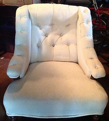 Cream Upholstered Victorian Button Back Wing Armchair