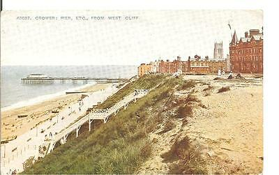 Lovely Early Vintage Postcard,the Pier,from West Cliff,cromer,norfolk