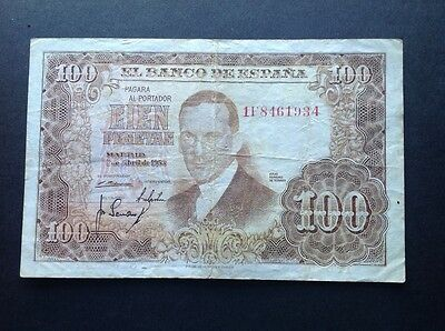 Spain banknote for 100 Pesetas dated 1953.
