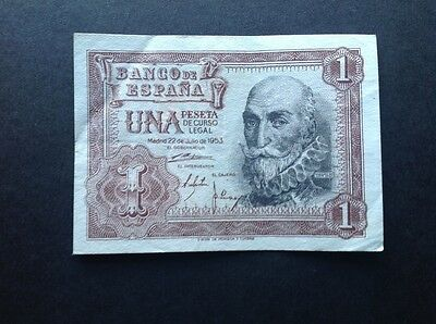 Spain banknote for 1 Peseta dated 1953.