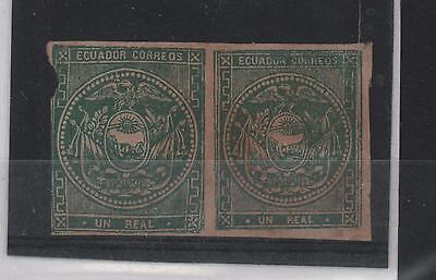 Ecuador 1870 One Real Green Pair Fake False Imperforated Shield Of Arms Sc# 5