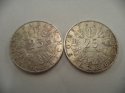 Lot of 2 1967 1972 Austrian 25 Schilling Silver Coins Austria Maria Theresa