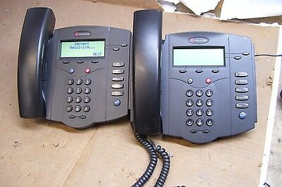 Lot of 2 - Polycom SoundPoint IP 301 SIP - VoIP Business Telephone Phone |