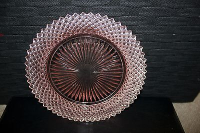 'Miss America' Anchor Hocking Pink Depression Glass Cake Plate & art deco handle