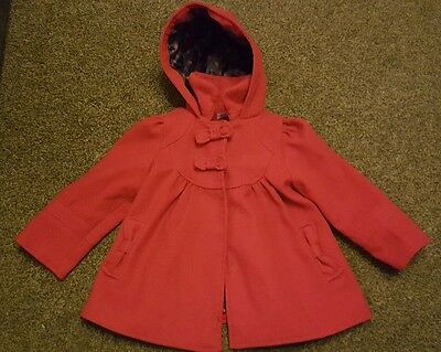F & F smart red coat - size 2-3 years - excellent condition