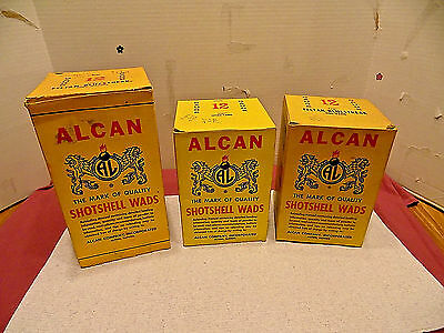 3 Vintage Alcan Shotshell Wads Boxes Empty