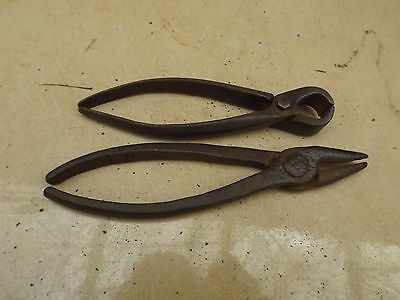 vintage old 2 x pairs of pliers blacksmith made