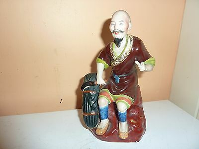 Vintage Chinese Porcelain 17.5Cm High Model Of Sitting Down Peasant Worker Male