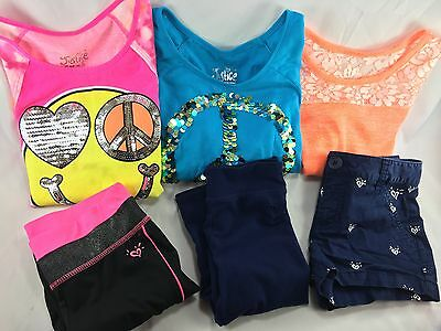 Lot Of 6 Girls JUSTICE Clothes Shirts & Shorts Pants Size 8