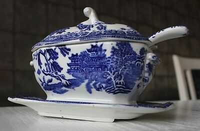 Antique Blue White Ware Staffordshire Pottery Gravy Sauce Tureen Saucer Spoon