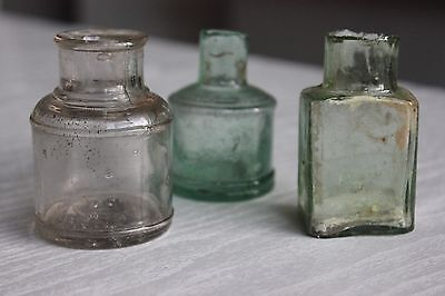 Three Antique Glass Inkwell Ink Pot