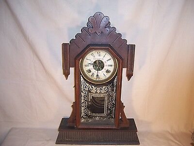 Antique Carved Parlor Kitchen Cottage Shelf Mantel Clock Rare NADIR 24 Hour Dial