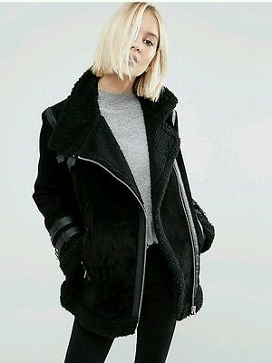 asos suede aviator jacket coat Faux shearling UK size 16 black sold out!!