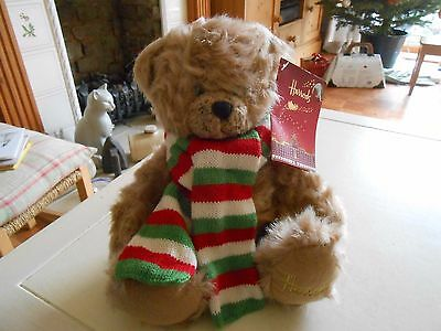 NEW WITH TAGS Seated Harrods Teddy Bear With Striped Scarf