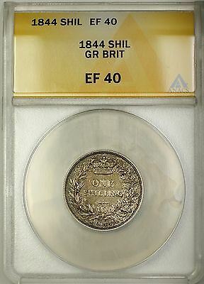 1844 Great Britain 1S Shilling Silver Coin ANACS EF-40