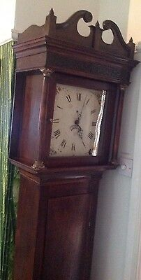 EARLY 19th C MED/DARK SOLID OAK GRANDFATHER CLOCK 30 HOUR