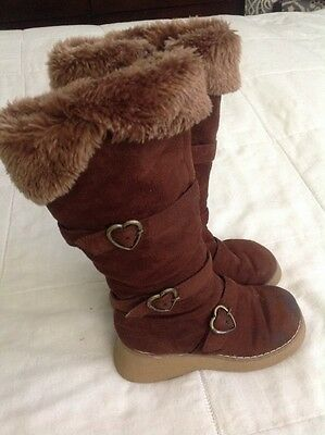 Girls CIRCO Brown Winter Boots Shoes Sz 12 Faux Suede Fur Buckles Wedge Fashion