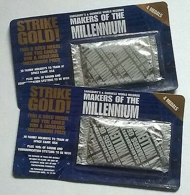 Four  Unopened Packs Of Sainsbury's Makers Of The Millennium Medals