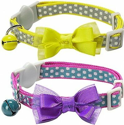 Blueberry Pet Pack Of 2 Cat Collars, Valentine Day Square Dots Adjustable Small