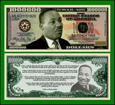 5 Martin Luther King Million Dollar Bills--New