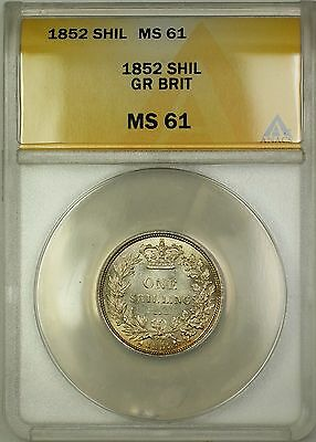 1852 Great Britain 1S Silver Shilling ANACS MS-61 (Better Coin)