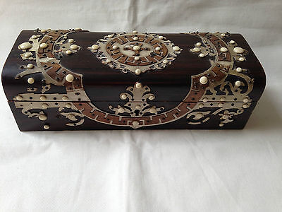 Antique Victorian wooden jewelry gloves box circa 1900 or earlier