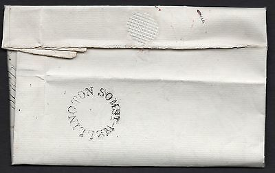 1830 Somerset entire Wellington to Wells with manuscript 7 in red