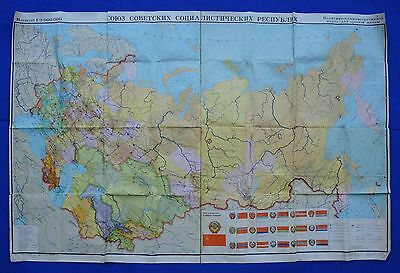 Old Soviet Union Political Wall MAP CCCP Republic Banner Russian POSTER 1.8m/6ft