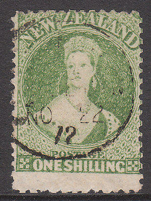New Zealand 1864 #125 Fine Used 1872 Yellow Green Victoria Chalon Stamp