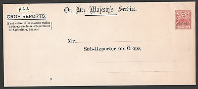 New South Wales 1891 H&g#13 Ohms Crop Reports Specimen Postal Stationery Cover