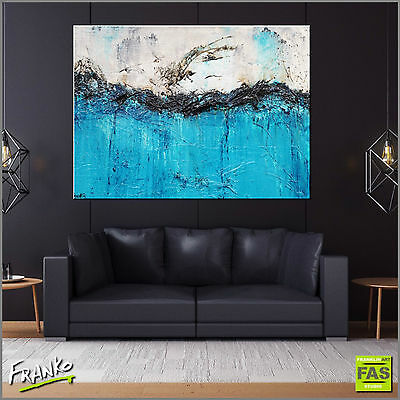 Modern Textured Abstract Painting Art Canvas Teal 140cm x 100cm Franko Australia