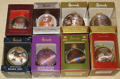 HARRODS Christmas Bauble Collection 2003 to 2010 Teddy Bears + Limited Baubles