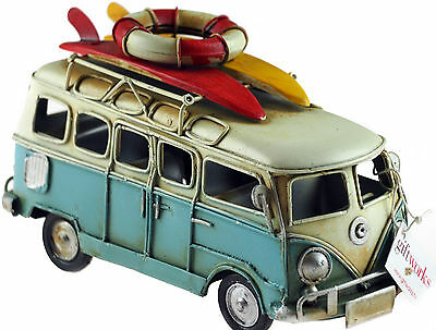 VW Camper Van 16cm Model Metal Ornament With Surf Boards - Aqua Blue