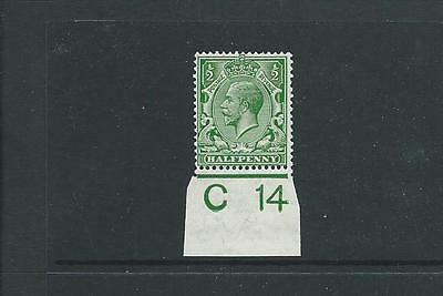 ROYAL CYPHER 1/2d GREEN CONTROL C14 IMPERF MARGIN FINE MOUNTED MINT