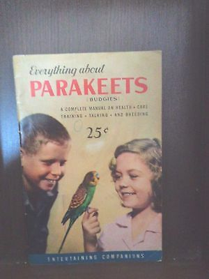 """Vintage Rare 1960's Hartz Mountain """"everything About"""" Parakeets (Budgies) Book"""