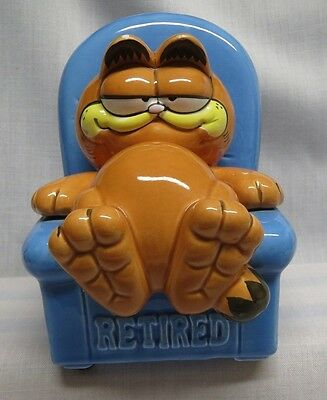 """Garfield Ceramic Bank """"Retired""""  78-81 with Stopper and Enesco Sticker"""