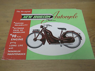 Motorcycle Brochure. BSA Re-Styled New Hudson Autocycle. 1956. Free UK P&P.
