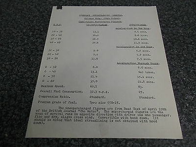 Information Sheet Shorrock Superchargers Hillman Minx Performance Figures c1958