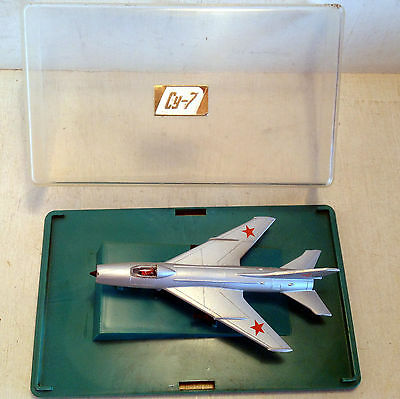 Vintage Russian Diecast Model Mig Plane in Perspex Case, 1:120, CY-7 (4693)