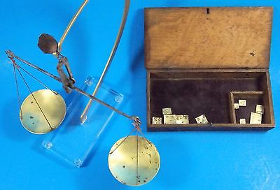 Mid 19th c.Antique Portable Pocket Gold Balance Scale Oak Box 2 Sets Of Weights