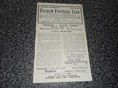 FULHAM  v  NOTTINGHAM FOREST  1946/7  ~ MAY 26th   *****FREE POST*****