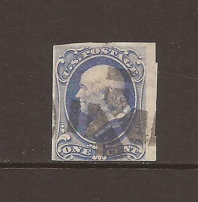 US ~ 1870's 1c FRANKLIN TRIMMED ODDITY - used