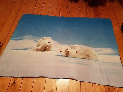 "Blue & White Polar Bear Fleece Blanket Approximately 159cm/ 62½"" by 106cm/41 ½"""