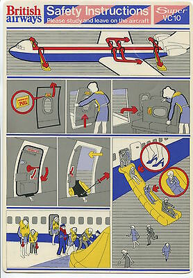 British Airways Super Vc10 Safety Card Ba Vintage Vickers