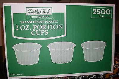Daily Chaf Transucent  Plastic 2 oz Portion Cups 2500 Cups ( NEW )